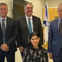 Energy Minister Karine Elharrar meets with US Ambassador John Desrocher (center) as well as US Envoy to Israel Michael Ratney (right) and Energy Ministry director-general Udi Adiri. (Energy Ministry)