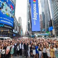 The monday.com team opens trade on the Nasdaq on June 10, 2021 (Nasdaq)