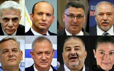 Party leaders in the emerging coalition: This combination of pictures created on June 2, 2021 shows (Top (L to R) Yesh Atid leader Yair Lapid, Yamina leader Naftali Bennett, New Hope leader Gideon Sa'ar, Yisrael Beytenu leader Avigdor Lieberman, (bottom L to R) Meretz leader Nitzan Horowitz, Blue and White leader Benny Gantz, Ra'am leader Mansour Abbas, and Labour leader Merav Michaeli. (Photos by AFP)