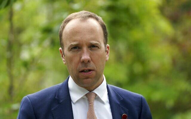 Britain's Health Secretary Matt Hancock speaks at Mansfield College, Oxford University, Oxford, on June 4, 2021. (Steve Parsons/Pool/AFP)