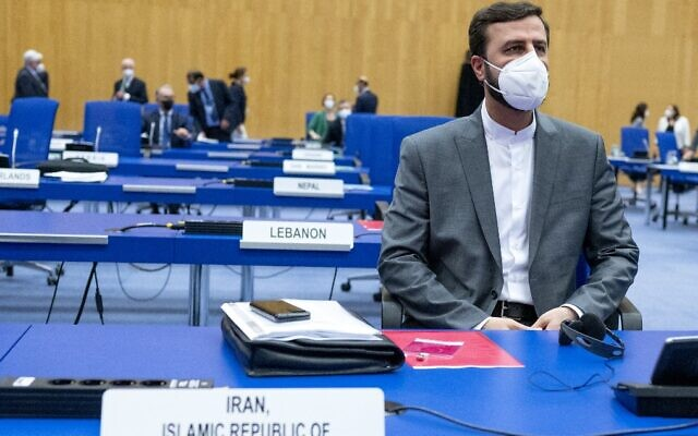 Iran's Governor to the International Atomic Energy Agency (IAEA) Kazem Gharib Abadi attends the IAEA Board of Governors meeting at the agency's headquarters in Vienna, Austria, on June 7, 2021. (JOE KLAMAR / AFP)