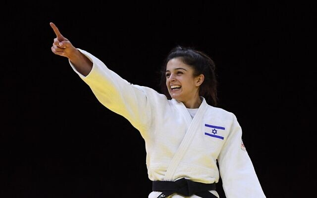 Israel's Gefen Primo reacts after her fight against Uzbekistan's Diyora Keldiyorova, in the bronze medal match of the women's under-52kg category during the 2021 Judo World Championships at 'Papp Laszlo' Arena in Budapest, Hungary, on June 7, 2021. (Attila KISBENEDEK / AFP)