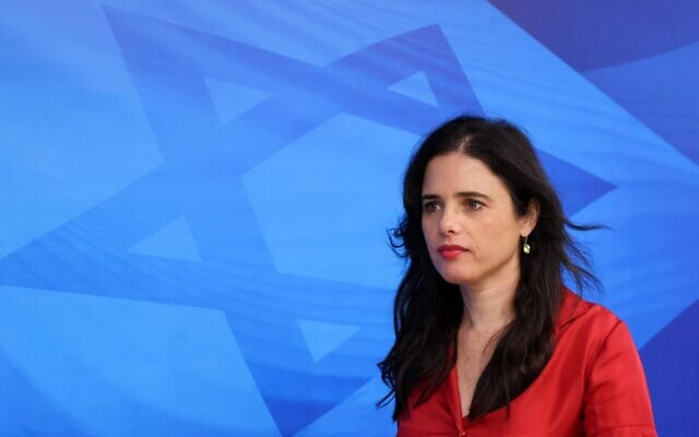 Interior Minister Ayelet Shaked arrives at the new government's first weekly cabinet meeting in Jerusalem, on June 20, 2021. (Emmanuel Dunan / AFP)