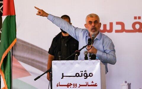 Hamas head Yahya Sinwar speaks during a rally in Gaza City, on June 20, 2021. (Mahmud Hams / AFP)