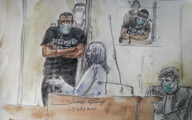 This court-sketch made in Paris on June 21, 2021, shows Abdalla El Hamahmi, who launched a machete-wielding attack at four French soldiers outside the Louvre Museum's entrances in 2017, standing during his trial at a Paris courthouse. (Benoit Peyrucq/AFP)
