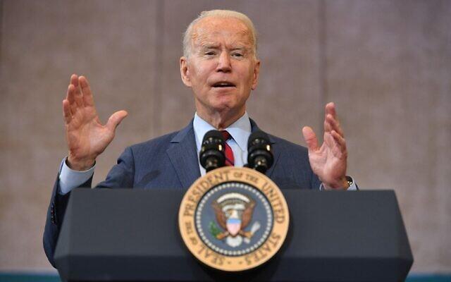US President Joe Biden speaks after visiting a mobile vaccination unit in  Raleigh, North Carolina on June 24, 2021. (Mandel Ngan/AFP)