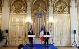 US Secretary of State Antony Blinken (L) and French Foreign Affairs Minister Jean-Yves Le Drian attend a joint press conference at the French Ministry of Foreign Affairs in Paris, on June 25, 2021. (GONZALO FUENTES/POOL/AFP)