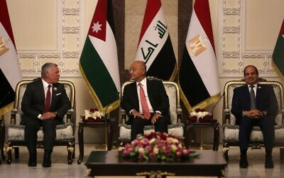 Iraqi President Barhah Saleh (C) receives his Egyptian counterpart Abdel-Fattah el-Sissi (R), and Jordan's King Abdullah II, in the capital Baghdad on June 27, 2021. (AHMAD AL-RUBAYE/AFP)