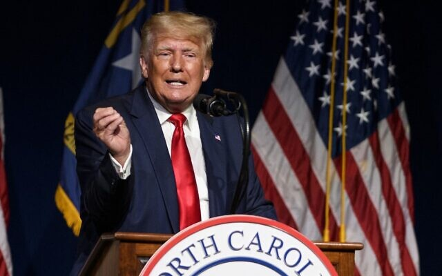 Former US president Donald Trump addresses the NCGOP state convention on June 5, 2021, in Greenville, North Carolina. (Melissa Sue Gerrits/Getty Images/AFP)
