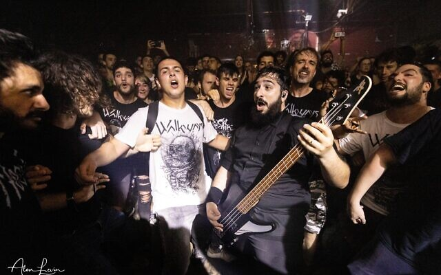 Israeli fans go wild at June 6 concert of alternative metal bad Walkways, one of the first rock-and-roll shows post-pandemic (Courtesy Alon Levin)