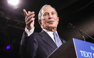 Mike Bloomberg speaks at a campaign rally in Nashville, Tennessee, February 12, 2020. (Brett Carlsen/Getty Images via JTA)