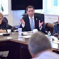 New York City Council member Chaim Deutsch shown at a budget negotiating team meeting in 2018. (John McCarten/New York City Council/ via JTA)
