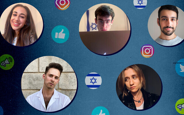 A cohort of young Jews is trying to combat antisemitism and anti-Zionism on social media. Clockwise from top left: Julia Jassey, Blake Flayton, Isaac de Castro, Eve Barlow and Ben Freeman. (Photo illustration by Grace Yagel/ via JTA)