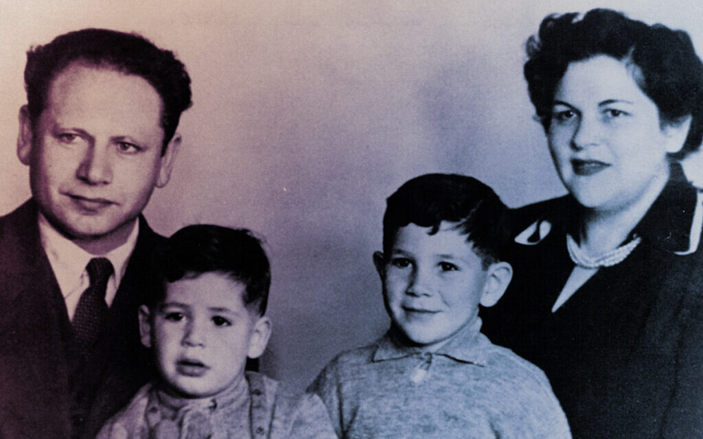 Left to right: Benzion Netanyahu, sons Benjamin and Jonathan, and his wife, Tzila. (Government of Israel/ via JTA)