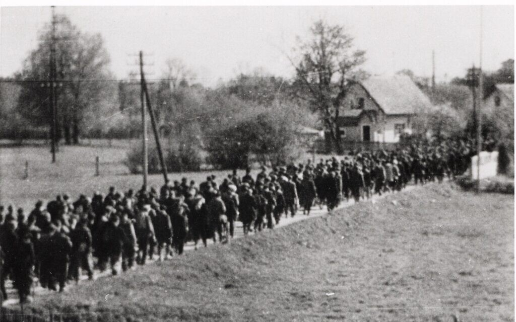 An undated clandestine image of a Nazi-led forced march. (Courtesy US Holocaust Memorial Museum)