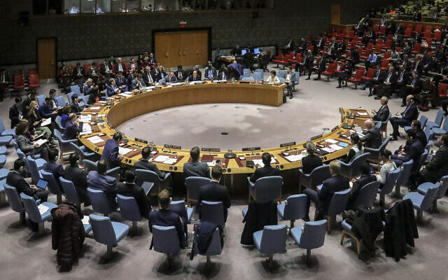 Illustrative: Members of the United Nations Security Council, with visiting German Foreign Minister Heiko Maas, convene a meeting on the nuclear non-proliferation treaty, Wednesday, Feb. 26, 2020, at U.N. headquarters. (AP Photo/Bebeto Matthews)