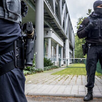Illustrative -- German police officers in  Frankfurt, Germany, Oct.7, 2020 (AP Photo/Michael Probst)