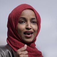 Congresswoman Ilhan Omar, D-Minn., speaks on April 20, 2021, in Brooklyn Center, Minnesota. (AP Photo/Morry Gash)