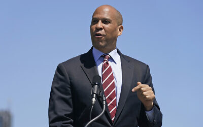 Senator Cory Booker speaks during a news conference in Hoboken, New Jersey, May 6, 2021. (Seth Wenig/AP)