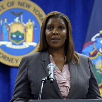 New York Attorney General Letitia James is shown at a news conference at her office, in New York, Friday, May 21, 2021. (AP Photo/Richard Drew)