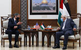 Palestinian Authority President Mahmoud Abbas, right, meets with US Secretary of State Antony Blinken, in the West Bank city of Ramallah, May 25, 2021. (AP Photo/Majdi Mohammed, Pool)