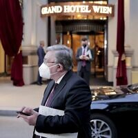 File: Russia's envoy to the International Atomic Energy Agency (IAEA), Mikhail Ulyanov, stands in front of the Grand Hotel Vienna where closed-door nuclear talks with Iran take place, in Vienna, Austria, Wednesday, June 2, 2021. (AP Photo/Lisa Leutner)