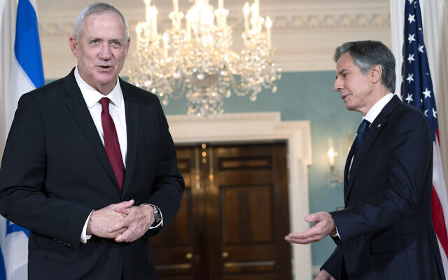 US Secretary of State Antony Blinken (right) gestures to Defense Minister Benny Gantz, on June 3, 2021, at the State Department in Washington, DC. (AP Photo/Jacquelyn Martin)