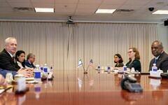 US Secretary of Defense Lloyd Austin, right, hosts a bilateral meeting with Defense Minister Benny Gantz, left, at the Pentagon in Washington on June 3, 2021. (AP Photo/Andrew Harnik)