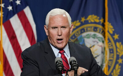 Former US vice president Mike Pence speaks at the annual Hillsborough County NH GOP Lincoln-Reagan Dinner, June 3, 2021, in Manchester, New Hampshire. (AP Photo/Elise Amendola)