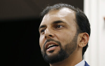 This Oct. 8, 2019, file photo shows Democratic candidate for the 28th district for the Virginia Senate, Qasim Rashid, in Fredericksburg, Virginia (AP Photo/Steve Helber, File)