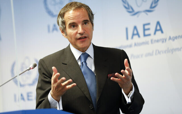 Director-General of the International Atomic Energy Agency Rafael Mariano Grossi, from Argentina, addresses the media during a news conference regarding the agency's monitoring of Iran's nuclear energy program at the International Center in Vienna, Austria,  on June 7, 2021. (AP Photo/Lisa Leutner)