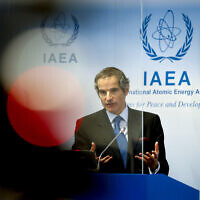 Director General of the International Atomic Energy Agency Rafael Mariano Grossi addresses the media during a news conference regarding the agency's monitoring of Iran's nuclear energy program at the International Center in Vienna, Austria, on Monday, June 7, 2021. (AP Photo/Lisa Leutner)