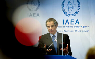 Director General of the International Atomic Energy Agency, IAEA, Rafael Mariano Grossi from Argentina, addresses the media during a news conference behind plexiglass shields regarding the agency's monitoring of Iran's nuclear energy program at the International Center in Vienna, Austria, Monday, June 7, 2021. (AP Photo/Lisa Leutner)