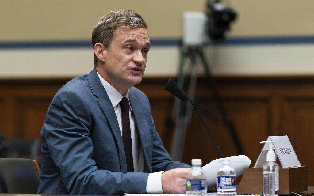 Author Patrick Radden Keefe testifies before a House Oversight Committee hearing on legislation inspired by the bankruptcy case of Purdue Pharma and the members of the wealthy Sackler family that own it, on Capitol Hill, June 8, 2021, in Washington. (AP Photo/Manuel Balce Ceneta)