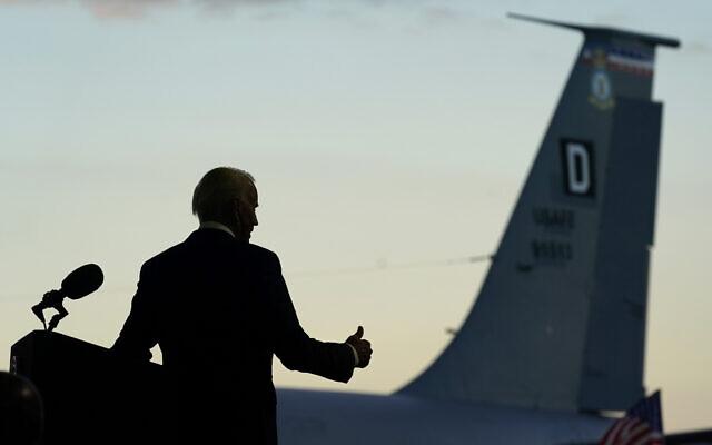 US President Joe Biden gestures as he speaks to American service members at RAF Mildenhall in Suffolk, England on June 9, 2021. (AP/Patrick Semansky)