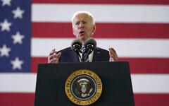 President Joe Biden speaks to American service members at RAF Mildenhall in Suffolk, England, June 9, 2021. (AP Photo/ Patrick Semansky)