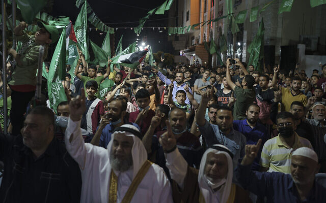 Palestinians gather during a Hamas rally in Gaza City, June 9, 2021. (AP Photo/Felipe Dana)