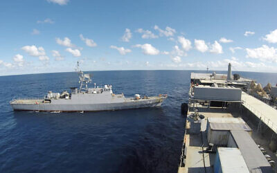 Iranian warships are seen in the Atlantic Ocean, in a photo released on June 10, 2021. (Iranian Army via AP)