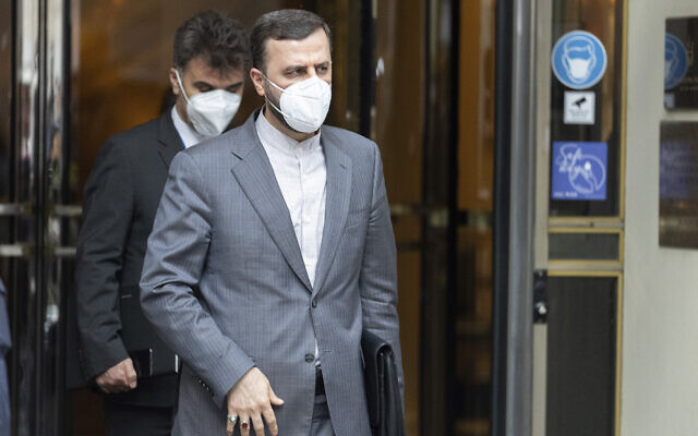 Iran's envoy to the International Atomic Energy Agency Kazem Gharibabadi, leaves the Grand Hotel Vienna, where closed-door nuclear talks took place, in Vienna, Austria, on June 12, 2021. (AP Photo/Florian Schroetter)