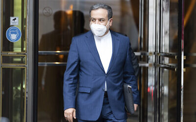 Deputy Forign Minister of Iran, Abbas Araghchi leaves the 'Grand Hotel Vienna' where closed-door nuclear talks take place in Vienna, Austria, June 12, 2021. (Florian Schroetter/AP)