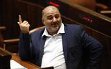 Ra'am leader Mansour Abbas at the Knesset in Jerusalem, on June 13, 2021. (AP Photo/Ariel Schalit)