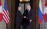 President Joe Biden and Russian President Vladimir Putin arrive to meet at the 'Villa la Grange' on Wednesday, June 16, 2021, in Geneva, Switzerland. (AP Photo/Patrick Semansky)