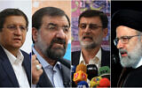 This combination of four photos shows candidates for the June 18, 2021, Iranian presidential elections from left to right; Abdolnasser Hemmati, Mohsen Rezaei, Amir Hossein Ghazizadeh Hashemi and Ebrahim Raisi. (AP Photo)