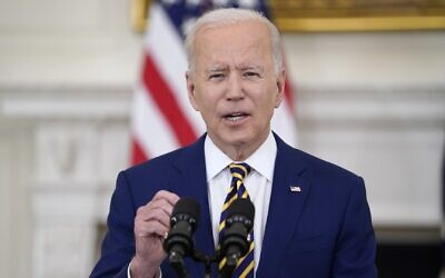 US President Joe Biden speaks about reaching 300 million COVID-19 vaccination shots, in the State Dining Room of the White House, Friday, June 18, 2021, in Washington. (AP Photo/Evan Vucci)