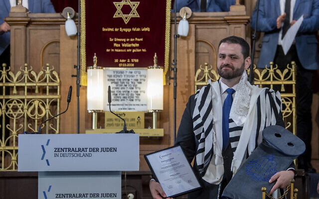 Zsolt Balla, state rabbi of Saxony, stands in the synagogue in Leipzig, Germany, on June 21, 2021, after his induction into the office of Military Rabbi of the Armed Forces. (Hendrik Schmidt/dpa via AP)