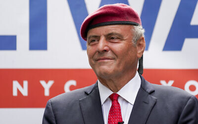 Republican mayoral candidate Curtis Sliwa smiles during a campaign event, on June 21, 2021, in New York. (AP Photo/Mary Altaffer)