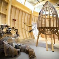 Animals that are made out of recycled material are on display at the interactive exhibit about the story of Noah's Ark, at the Jewish Museum in Berlin, Germany, June 21, 2021. (AP Photo/Markus Schreiber)