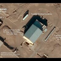 This satellite image provided by Planet Labs Inc. that has been annotated by experts at the James Martin Center for Nonproliferation Studies at Middlebury Institute of International Studies shows preparation at the Imam Khomeini Spaceport in Iran's Semnan province on  June 1, 2021 before what experts believe was the launch of a satellite-carrying rocket on June 12. (Planet Labs Inc., James Martin Center for Nonproliferation Studies at Middlebury Institute of International Studies via AP)