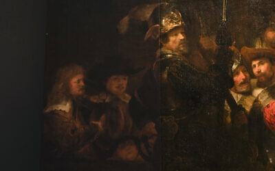 Detail of the Night Watch's left side, showing how Rembrandt's biggest painting just got bigger with the help of artificial intelligence in Amsterdam, Netherlands, June 23, 2021. (AP Photo/Peter Dejong)