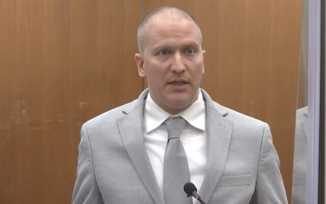 In this image taken from video, former Minneapolis police Officer Derek Chauvin addresses the court as Hennepin County Judge PeterCahill presides over Chauvin's sentencing on June 25, 2021, at the Hennepin County Courthouse in Minneapolis. (Court TV via AP, Pool)
